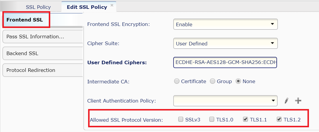 Alteon Selection of Supported SSL/TLS Protocol Version