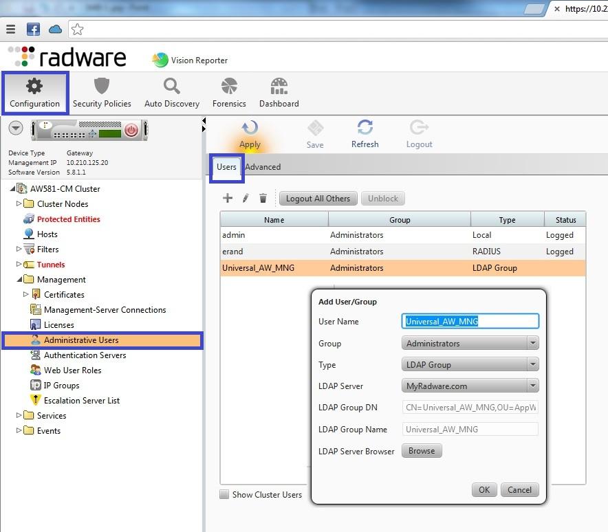 How to a define LDAP User\ LDAP Group\ RADIUS user as an