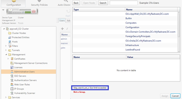 Appwall Size Limit Exceeded In Ldap Search